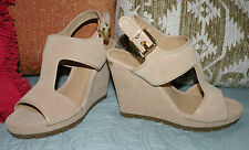 New MICHAEL KORS 6.5 GILLIAN BONE SUEDE LEATHER PLATFORM WEDGES SANDALS SHOES