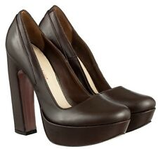 MORI ITALY PLATFORM HIGH HEELS PUMPS SCHUHE SHOES REAL LEATHER BROWN MARRONE 45
