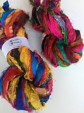 Sari silk ribbon, eyelash silk craft ribbon, ribbon yarn, 5 yard craft skein