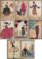 Vintage inspired eclectic fashions Art Deco cards tags ATC altered art set of 8