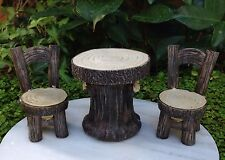 Miniature Dollhouse FAIRY GARDEN Furniture ~ Resin Wood Look Table & Chairs NEW