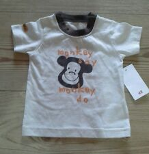 Baby boy beige brown monkey t-shirt 1-2 month H&M NEW with tags
