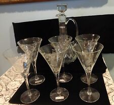Vintage Handmade Glass Etched Floral Decanter With 6 Etched Glasses Romania