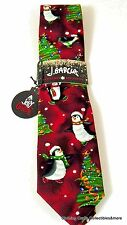 Jerry Garcia Christmas Tie Red Skating Penguins Christmas Trees NWT