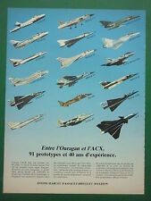 1984-85 PUB AVIONS MARCEL DASSAULT BREGUET OURAGAN MIRAGE 2000 ACX FRENCH AD