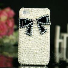Apple iPhone 4 4S Hard Case Handy Schutz Hülle Tasche Etui Perle Schwarz 3D Weiß
