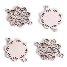 100pcs Wholesale Antique Silver Charm Hollow Flower 2 Holes Connector Pendants J
