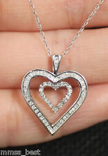 NEW Kay Jewelers 10K Diamond Double Heart Love Pendant Necklace White Gold