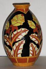 """KERAMIS : """"Vase Ovoide à décor de fleurs exotiques"""" 30 cm"""