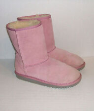 UGG Kid's Youth Pink Suede Leather Shearling Winter Boots SZ 4 US / 34 EU / 3 UK