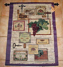 Wine Cellar ~ Wine Labels/Grape Vineyards Tapestry Wall Hanging