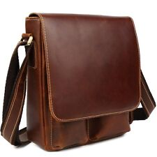 Men Genuine Leather Brown Sling Shoulder Bag Cross Body Satchel Casual iPad Case