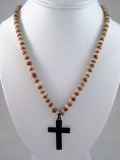 "New 20"" Long Coco Bead Necklace with Metal Cross Pendant #N1005"