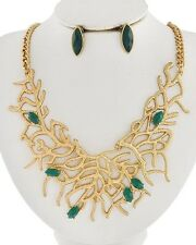 Le Ciel Coastal Gold CORAL Teal Green GEM Statement Necklace & Earrings Set NWT