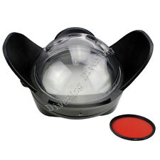 Meikon Underwater Camera 200mm Fisheye Wide Angle Lens Dome Port With Red Filter
