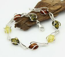 NATURAL BALTIC AMBER STERLING SILVER 925 BRACELET Multi-Coloured Certified
