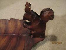 Vintage Black Forest Germany Carved Squirrel on Leaf Nut Tray