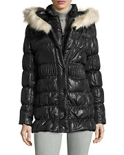 NWT VIA SPIGA  Down Parka with Faux Fur Trimmed Hood Women's Size SMALL ANB
