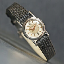 Rare Jaeger LeCoultre Back Wind Ladies Stainless Steel Pink Hands Watch