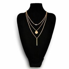Women Chic Charms Diamante 3 Layers Gold Chain Fashion Necklace