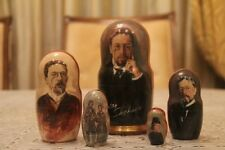 "Chekhov Famous russian writer russian doll stacking nesting doll 5pc ""7"