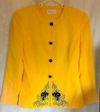 CONDICI SIZE - 10 BRIGHT YELLOW FLORAL BEAD TRIM SMART JACKET WEDDINGS