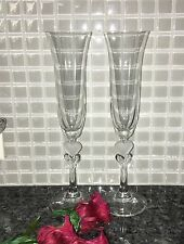 "Champagne Flutes with Clear & Frosted Heart 10"" Wedding toasting glass goblets"
