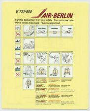 AIR-BERLIN airlines B 737-800 Safety Card - sc610