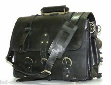 "CRAZY HORSE LEATHER MESSENGER LAPTOP BAG SATCHEL 16"" Macbook VTG Distressed"