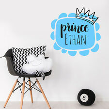 Nome Personalizzato personalizzare PRINCIPESSA BABY BOY ROOM Wall Sticker Vivaio Decalcomania Decor