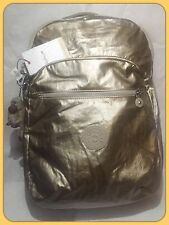 NWT KIPLING Seoul Large Metallic Laptop Backpack Champagne Metallic Gold $124
