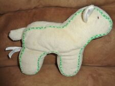 "Lamb Green Trim Cream Ivory 7"" Plush Sheep 2010 Shin An Toy Factory Stuffed Baby"