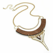 Shiny gold colour wood look design chain necklace tribal boho 30088