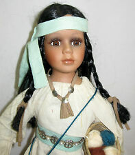 """Vtg American Indian DOLL Navajo Bisque Porcelain w loom and balls of wool 16"""""""