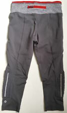 LULULEMON Mind Over Matter Crop Pants w/ Ruffles sz 4 Grey w Black Blurred & Red
