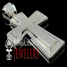 Real Genuine Diamond 14K White Gold Finish Micro Jesus Cross Pendant Piece Charm