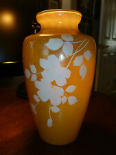 Antique Glass Vase - Yellow/Brown with White painted flowers - 1936