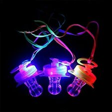 12 PCS Light Up Pacifiers LED Rave Party Glow Whistle Flashing Lanyard