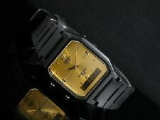 Casio AW-48HE-9A Black Resin Gold Face Digital Analog Dual Time Watch