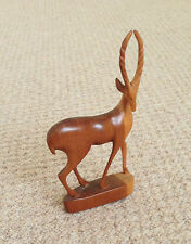"A 6.5"" TALL x 3.75"" LONG, BROWN WOODEN GAZELLE STANDING/LOOKING RIGHT FIGURINE"