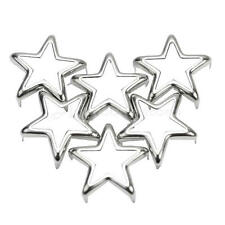 50Pcs Leathercraft Accessories Hollow Star Metal Studs Rivets Spots 15mm Silver