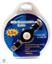 Retractable USB Extension Cable 1.5m Plug and Play Hot Swap 480Mbps Black NEW HQ