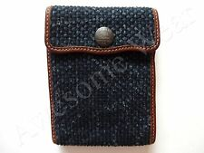 New Ralph Lauren RRL Dark Blue Woven Cloth & Leather Trifold Wallet