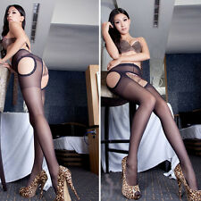 Sexy Women Tights Crotchless Pantyhose Skin Suspender Lady Body Stockings Black