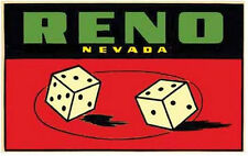 Reno, NV  Nevada Dice   Vintage-50's Style Travel Decal