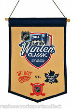 2014 NHL WINTER CLASSIC WOOL BANNER DETROIT RED WINGS VS TORONTO MAPLE LEAFS 1/1