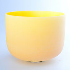 "10"" E Solar Yellow Wholesale Chakra Crystal Quartz Singing Bowl Heal Stone"