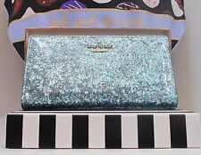 NWT Kate Spade GLITTER BUG STACY Bifold Wallet Baby Blue  New $98