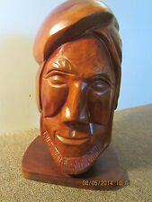 NAUTICAL, WOOD HAND CARVED BUST OF OLD SEAMAN