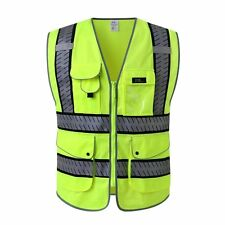 J.K 9 Pockets Class 2 High Visibility Zipper Front Safety Vest With Reflective